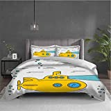 Yellow Submarine 3-pack (1 duvet cover and 2 pillowcases) bedding Ocean Nautical Adventure...