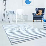 carpetcity Children's Rug with Nautical Ship Steering Wheel Stripes in Blue and White with Carved...