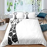 Giraffe Bedding Set Girls,Cute Animals Pattern Comforter Cover Set For Kids Child,Hand Drawn Safari...