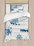 shirlyhome Comfortable polyester sheets set of 2 Wave Pattern With Nautical Elements Icons Octopus...