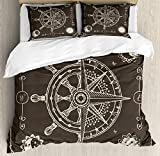 ABAKUHAUS Nautical Duvet Cover Set, Maritime Inspired Design Compass Windrose with Floral Sun and...