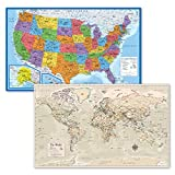 2 Pack - USA Map Poster [Blue Ocean] & Antique Style World Map Chart (Laminated, 18' x 29')