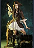 Delights Womens Jack Sparrow Style Pirate Captain Costume with Hat Small (UK 8-10)