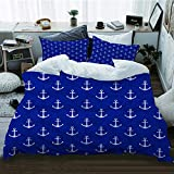 TARTINY duvet cover,Nautical Pattern with Classic Colors and Anchors Simplistic Design Sailor Ship...
