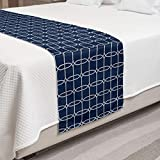Ambesonne Nautical Bed Runner, Bicolored Maritime Design of Ropes and Knots Sailor Simplistic...