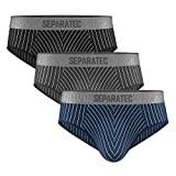 Separatec Men's Boxer Briefs Soft Cotton with Separated Pouches Underwear 3 Pack Boxer Shorts...