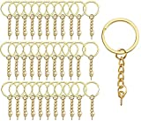 Key Ring with Chain, 60PCS Gold Split Metal Keychain Rings with Jump Rings and Screw Eye Pins Bulk...