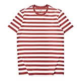 Zengjo Essential Stripes T-Shirts Comfort Short-Sleeve Crew-Neck Striped Tee Top (L, Brick Red&White...