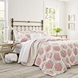 Laura Ashley | Coral Coast Collection | Quilt Set-Ultra Soft All Season Bedding, Reversible Stylish...