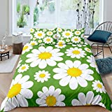 Loussiesd Girls Daisy Bedding Set Botanical Floral Duvet Cover Set for Kids Boys Women Blossom...