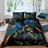 Loussiesd Chinese Style Bedding Set Watercolor Peacock Printed Duvet Cover Set for Kids Adults Boho...