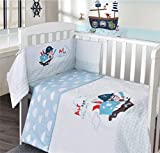 My Little World Nursery Blue Pirate Baby Boy Bale Bedding Set Printed Cot Quilt Bumper and Fitted...