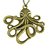 umbrellalaboratory Steampunk Octopus Necklace | Victorian Style, Gold Finish Handmade Pirate...