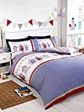 Single Nautical Beach Huts Bedding Duvet Cover Set