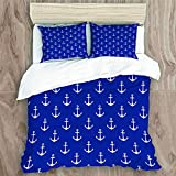 Bedding Duvet Cover Set with Zipper Closure - Nautical Pattern With Classic Colors And Anchors...