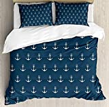 JamirtyRoy1 Anchor Duvet Cover Set King Size, Nautical Pattern with Classic Colors and Anchors...