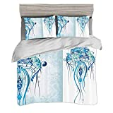 Duvet Cover Set King Size(230 x 220cm) with 2 Pillow Shams Sea Creatures Artistic Nautical Coastal...