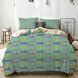 Duvet Cover Set Beige,Colorful Cartoon Submarines Under The Sea Nautical Fun Pattern Composition,...