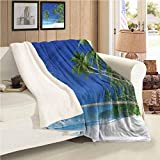 Sailboat Nautical Custom Blanket Tropic Forest Autumn And Winter Thick Blanket Throw Size
