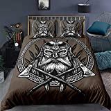 Ancient Viking Bedding Set,Vintage Exotic Tribe The Ax A Sword A Spear Scandinavian Logo Brown...