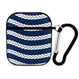 Airpod Case Cover Black,Nautical Navy Rope Pattern Portable & Shockproof Airpods Accessories...