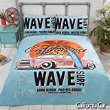 Rapport Duvet Cover Bedding Set-Retro California Surf Board on a Beach with Palm Tree & Vintage Car,...
