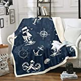 Anchor Decor Fuzzy Blanket Nautical Theme Throw Blanket Compass Comforter Pattern Cover for Crib Bed...