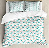 LnimioAOX Nautical Duvet Cover Set, Marine Themed Repetitive Sailboats Anchors and Happy Whales,...