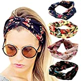 4 Pack Headbands Vintage Elastic Printed Head Wrap Stretchy Moisture Hairband Twisted Cute Hair...