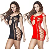 LOVELYBOBO 2 Pack Womens Lingerie Exotic Mini Dress, Fishnet Chemise Trendy Top Bodysuit with Sexy...