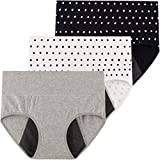 INNERSY Period Panties Heavy Flow C Section Underwear Incontinence Pants 3 Pack (20, Black Dot/White...