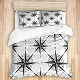 Kanxdecor 3-PieceBeddingSet,Black and White Sketch Style Windrose Discovering New Places...