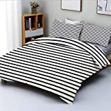 Totun Duvet Cover Set,Nautical Colors Horizontal Lines Abstract Vintage Inspired...