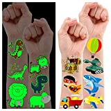 Leesgel Temporary Tattoos for Boys Kids, 79 Styles Luminous + Metallic Glitter Animal Dinosaur...