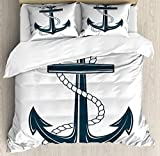 zpangg Navy White Duvet Cover Set Iconic Symbol of Maritime Nautical Anchor with a Rope Monochrome...