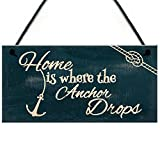 RED OCEAN Seaside Home Is Where The Anchor Drops Nautical Shabby Chic Hanging Plaque...