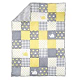 Yellow and Grey Baby Blanket for Newborn Kids Whale Print Toddler Quilt Cotton Soft Crib Comforter -...