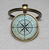Nautical Compass Keychain,Compass Rose Keychain,Wind Rose,Nautical Keychain,Unique Key Ring...