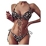 Bikini Sets for Women, 2 Piece Bowknot Sexy Strappy Swimsuit High Waist Push Up Halter Ladies...