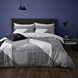 Catherine Lansfield Larsson Geo Easy Care King Size Duvet Set Grey