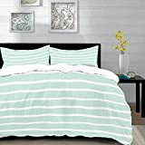 Qoqon bedding - Duvet Cover Set, Mint,Horizontal Wavy Lines White Striped Abstract Soft Toned...