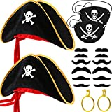 18 Pieces Pirate Costume Accessories, Pirate Captain Eye Patches, Pirate Hat, Pirate Gold Earrings,...