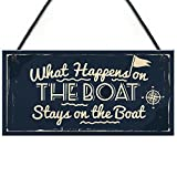 RED OCEAN What Happens In The Boat Nautical Decor Theme Shabby Chic Hanging Beach Seaside Sea Sign...