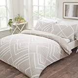 Sleepdown Striped Geometric Natural Reversible Easy Care Duvet Cover Quilt Bedding Set with...