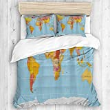 ALLMILL Maps Global Country Nautical,College Dorm Room Decorative 3-Piece Bedding Set,(1 Duvet Cover...