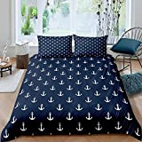 Bcooseso Dark blue nautical anchor pattern Printing Bedding Sets Soft and Comfortable Bed Linens...