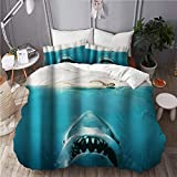 JOSENI bedding-Duvet Cover Set,Funny Shark Beach Nautical Jaws Underwater Theme Ocean...