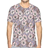 LLALUA Mens 3D Printed T Shirts,Graceful Nature Theme Bedding Plant Poppies Buds with Artistic Look...