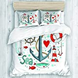 YOLIKA bedding-Duvet Cover Set,Collection of Nautical in Circle Shape There are Lighthouse Seagull...