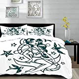 Yaoni bedding - Duvet Cover Set, Anchor,Pin-up Girl Nautical Sailor Suit Surrounded by Swallow Birds...